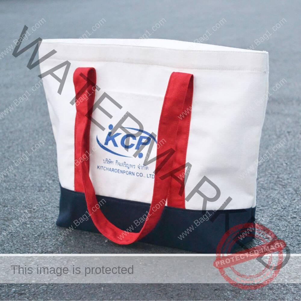 กระเป๋าผ้าแคนวาสตัดต่อสามสี